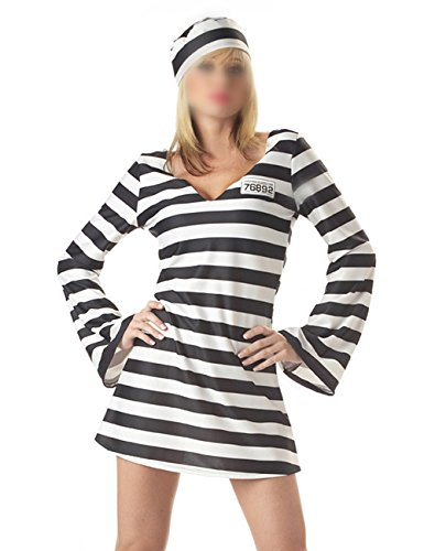 THEE Adult Jailhouse Prisoner Costume Halloween Cosplay (Costume Sexy Jailbird)