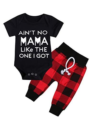 Newborn Infant Baby Boy Girl Clothes Long Sleeve Romper Top,Plaid Pants+ Cute Hat 4Pcs Clothes Outfits Set (C-Black, 3-6 Months)