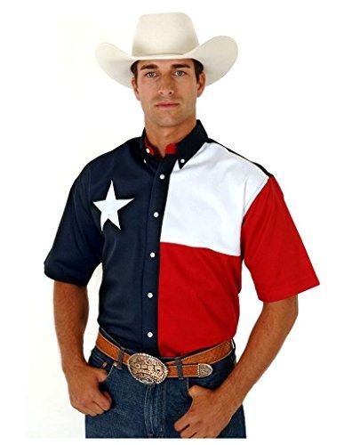 Roper Men's Texas Collection Flag Shirt Navy Large