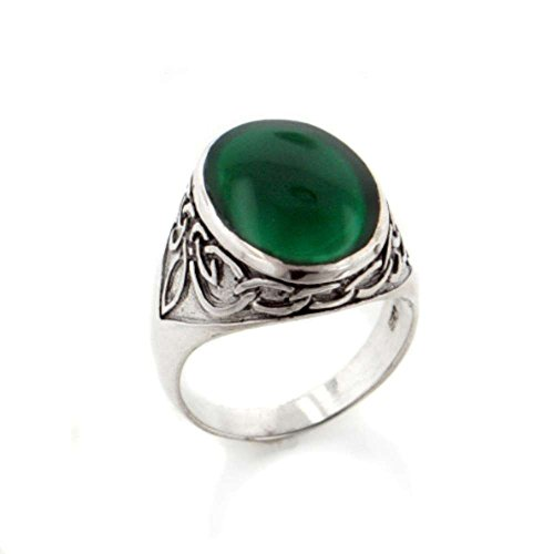 Mens Celtic Knotwork Sterling Silver and Green Agate Inlay Band Ring Size 11(Sizes 9,10,11,12,13)