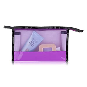 ACELIST Clear Vinyl Zippered Cosmetic Bag Carry Case Travel Makeup (Purple)