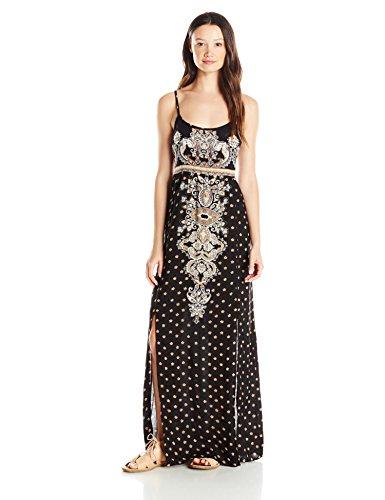 Angie-Womens-Black-Printed-Side-Slit-Maxi-Dress
