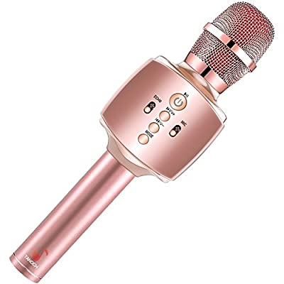 TANOCH Wireless Karaoke Microphone, Bluetooth Speaker with Disco Light Upgraded Cellphone Holder and 3200mAh Rechargeable Battery Gifts for Kids, Birthday, Mother's Day