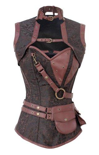 Steel Boned Steampunk Corset, Jacket, and Belt