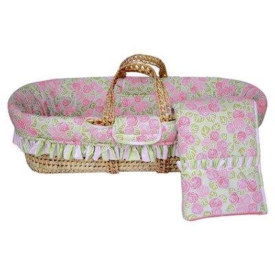 Bacati - Flower Basket Pink/Green Moses Basket