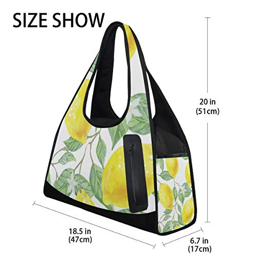 d6912a6901ae Gym Bag Watercolor Lemon Tree And Flowers Women Yoga Canvas Duffel Bag  Sports Tote Bags for