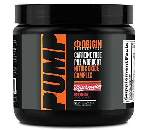 Origin Pump Caffeine-Free Pre-Workout Nitric Oxide Complex (Watermelon, 30 Serv) - Gluten Free and Non-GMO