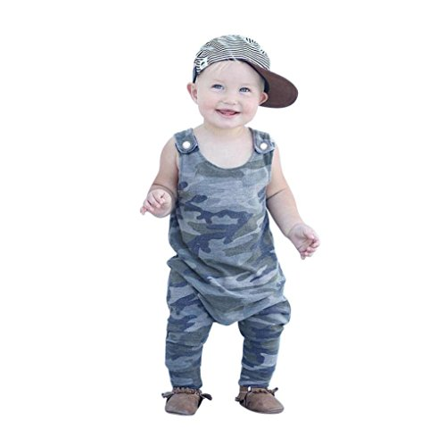 Price comparison product image FEITONG Newborn Kids Baby Boys Clothes Sleeveless Camouflage Romper Jumpsuit Pajamas (Army Green, 18-24M)