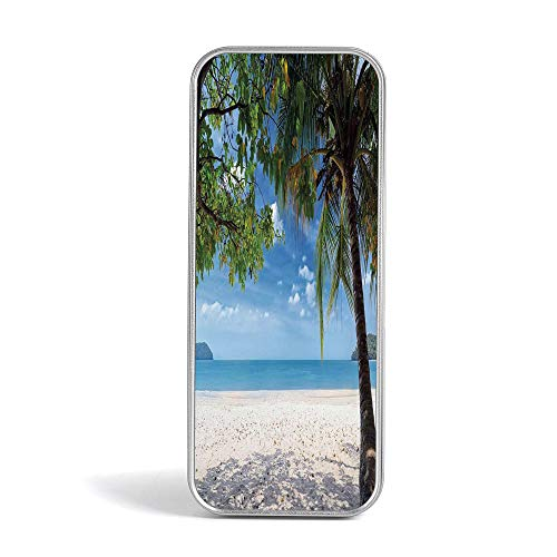 Tin Pencil Box,Summer,Special Gifts for Children/Kids,Tropical Beach Ocean Behind Palm Tree Caribbean Exotic Holiday Image