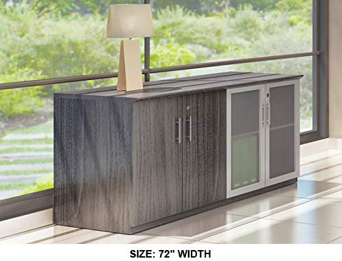 """Modern Low Wall Credenza, Glass and Wood Doors (Mahogany, 72"""" Width)"""