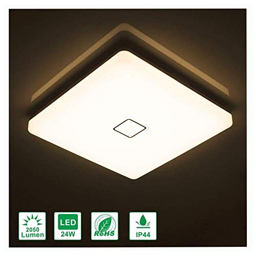 Airand LED Ceiling Lights 24W Fixture Flush Mount 3000K Square LED Ceiling Lamps with 240Pcs LED Chips for Bedroom Bathroom Kitchen Stairwell, 12.6 Inch, 2050 Lumens (Warm White)