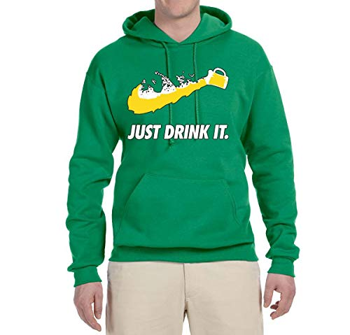 Wild Bobby Just Drink It Funny Swoosh Logo Parody | Mens Drinking Hooded Sweatshirt Graphic Hoodie, Kelly, 2XL