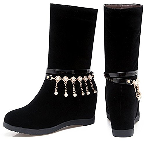 Idifu Womens Elegant Faux Suede Hanger Mid Sleehak Middenkuit Laarzen Zwart