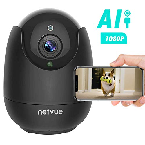 Dog Camera - 1080P FHD Pet Camera with Phone App, Pan/Tilt/Zoom Home Camera Cat Camera with 2-Way Audio, AI Human Detection, Night Vision, Cloud Storage/TF Card, Work with Alexa Indoor Camera for Pets