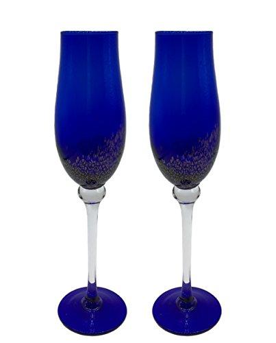 KCHAIN 2pcs Champagne Flute Glass 7oz (Tulip Blue)]()