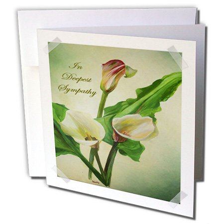 Lily Sympathy Card - 3dRose In Deepest Sympathy - calla lilies, calla lily, callas, easter lily, flower, lilac - Greeting Cards, 6 x 6 inches, set of 12 (gc_49416_2)