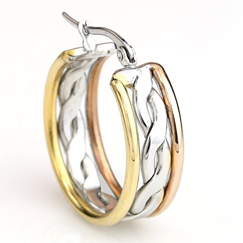 - United Elegance Contemporary Polished Twisted Tri-Color Silver, Gold & Rose Tone Hoop Earrings