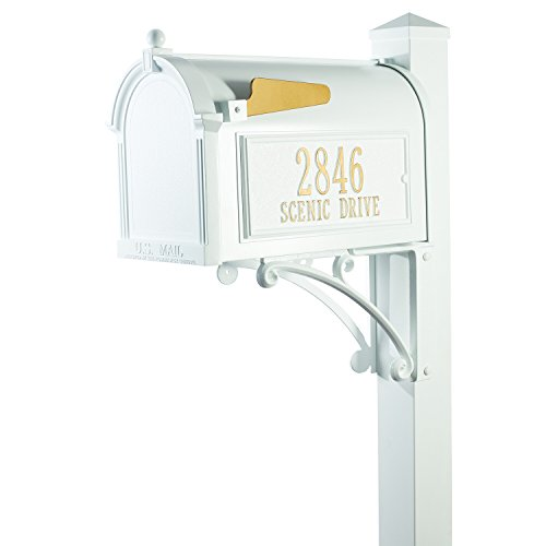 (Whitehall Custom Premium Capitol Mailbox and Side Mount Post Package - Sand Cast Aluminum - White Personalized in Goldtone)