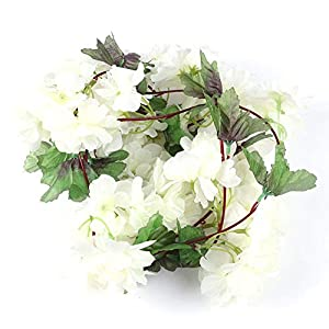 MARJON FlowersArtificial Silk Cherry Blossom Flower Garland Ivy Vine Fake Hanging Plant Leaves Garlands for Wedding Party Garden Wall Home Decoration (White) 4