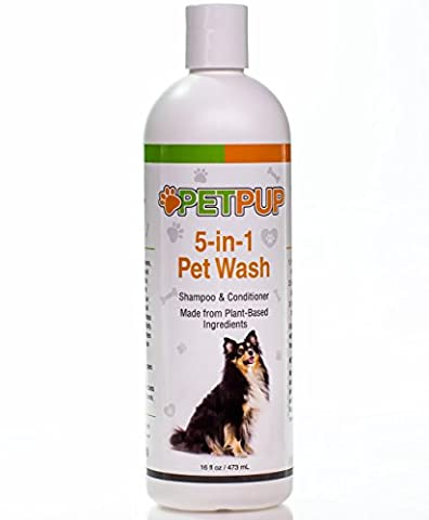 Natural Pet Shampoo for Dogs & Cats by PetPup - 5-in1 Formula - It Cleans, Conditions, Moisturizes, Deodorizes & Detangles- Best for Sensitive Itchy Skin. NO Preservatives, NO Parabens; (Dog Conditioner For Poodles)