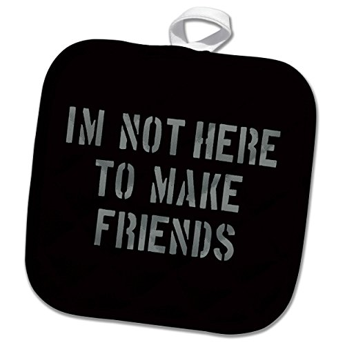 3dRose Uta Naumann Sayings and Typography - Im Not There To Make Friends-Funny Motivation Typography on Black - 8x8 Potholder (phl_272832_1)