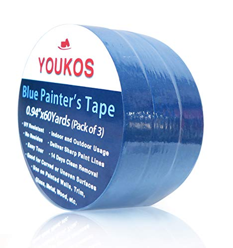 YOUKOS Painters Tape 1 inch Blue Crepe Paper Automotive Wall Thin Masking Tape (3 Pack 0.94