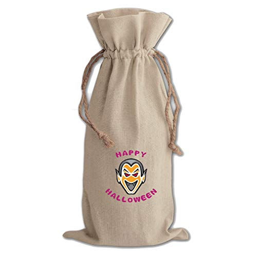 (Scary Face Happy Halloween Cotton Canvas Wine Bag, Cotton)