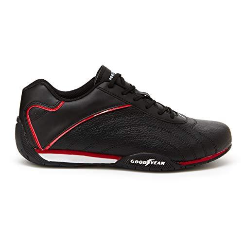 Goodyear Mens Ori Racer Sneaker Low-Top Sneakers, PU Leather & Mesh Lining Black/Red, 10.5 M US
