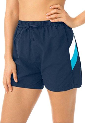 Swim 365 Women's Plus Size Swimsuit, Board Shorts In Taslon Navy White