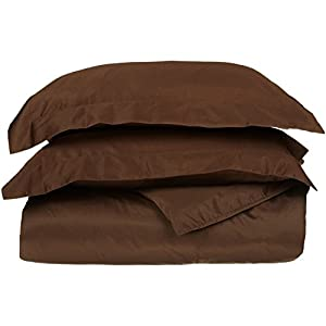 100% Egyptian Cotton 650 Thread Count, Twin 2-Piece Duvet Cover Set, Single Ply, Solid, Chocolate