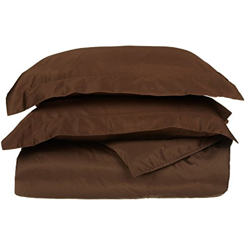 Chocolate 3 Ply (100% Egyptian Cotton 650 Thread Count, King/California King 3-Piece Duvet Cover Set, Single Ply, Solid, Chocolate)