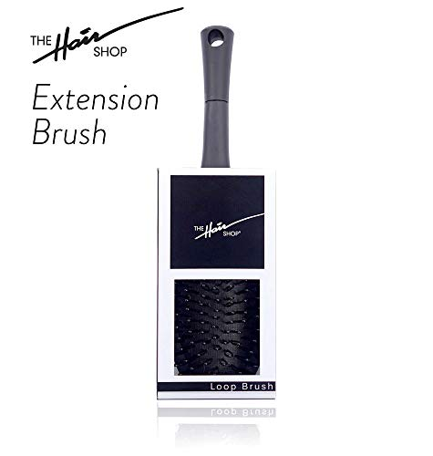 The Hair Shop Black Loop Brush | Salon Professional Grade with Matted Black and Ergonomic Design | Safe Detangler Tool for 100% Remy Human Hair Extensions and Wigs ()