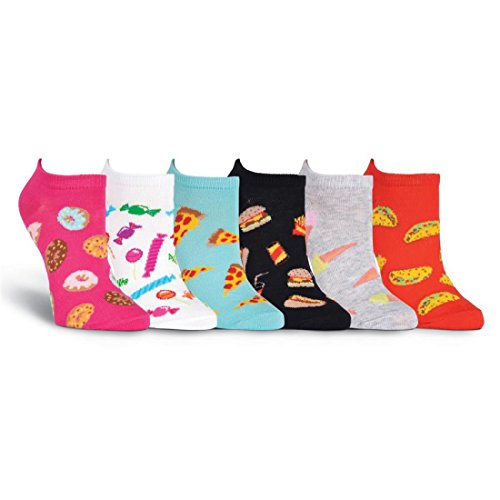 K. Bell Brand Kid's Junk Food 6 Pair Pack No Shows Sock, Size: 6-8.5 comes with a Helicase Brand Sock Ring
