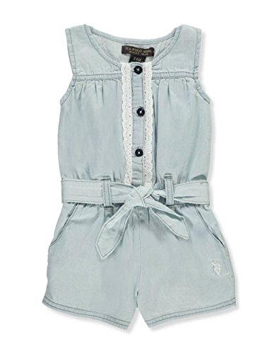 U.S. Polo Assn. Baby Girls Romper, Button Front Eyelet Trim Ice Wash, 18M Eyelet Romper
