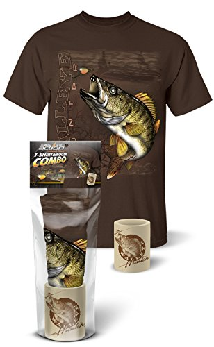 Follow the Action Walleye Hunter Fishing T-Shirt and Koozie Combo Gift Set (Large) (Best Gift For A Hunter And Fisherman)