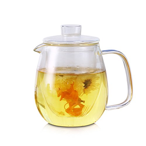 oneisall Glass Pitcher With Lid & Infuser - Borosilicate Glass Carafe 40oz/1200ml BPA-FREE Heat-resistant,Perfect For Hot&Cold Water,Tea,Juice,milk DHTGYBL581 (1200ML) by oneisall