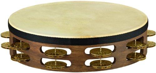 - Meinl Vintage Goat-Skin Wood Tambourine Two Rows Brass Jingles Walnut Brown 10 in.