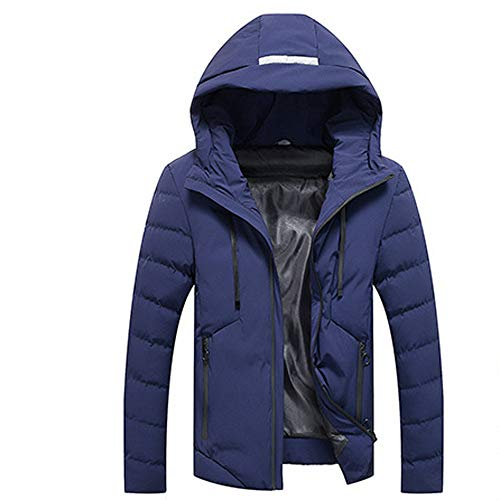 GOVOW Wind Coat Men Long Plus Size Winter Long Sleeve Warm Hoodie Hooded Zip Slim Jacket Outwear(US:12/CN:XL,Blue)