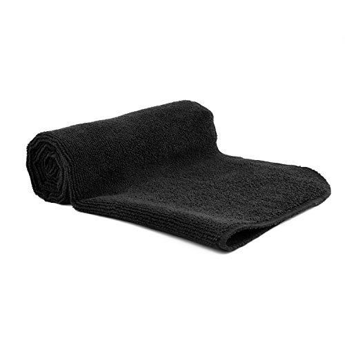 2-for-1 Hot Yoga Sports Fast Dry Towel (Set of 2) Compact - Ultra-Absorbent - Face & Hand Towels Ideal for Travel Fitness, Hiking, Sports, Camping, Backpacking, Dancing or Bath (Black, 15