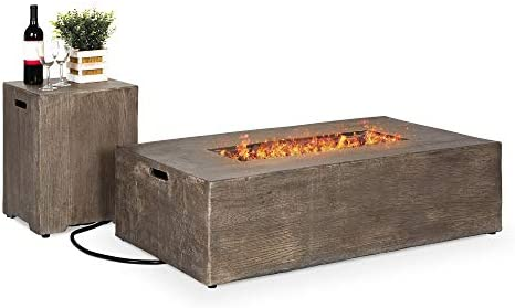 Best Choice Products 48x27in 50,000 BTU Patio Propane Fire Pit Table, Side Table Tank Storage w Wood Finish, Pit Cover