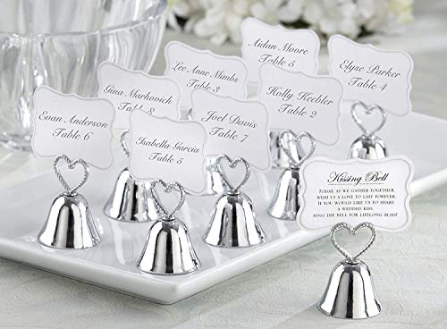 Kate Aspen Silver Kissing Bells Place Card/Photo Holder - Table Décor and Displays Table Assignments at Weddings, Bridal Showers or Anniversaries(Set of 24)