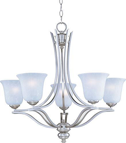 - Maxim Lighting 10175ICSS Madera 5-Light Chandelier, Satin Silver Finish, IceGlass,MBIncandescentIncandescentBulb,60WMax.,DrySafetyRating,StandardDimmable,OpalGlassShadeMaterial,RatedLumens