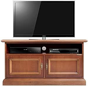 Arteferretto Mueble de TV, pequeño Mueble TV de Madera Maciza y Madera MDF, Mueble de TV bajo por salón,<BR>Mueble de Sala de Estar, Mueble TV con 2 Puertas y un vano Abierto,