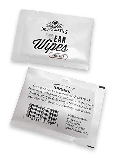 Dr. McGrath's Ear Wipes with Natural Ingredients and Aloe for Dogs, Cats and Horses