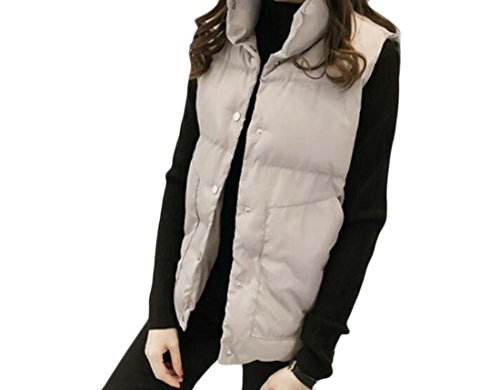 KLJR-Women Casual Button Front Solid Stand Collar Quilted Coats Down Vest Grey US (Womens Quilted Button)