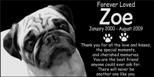 Personalized Pug Pet Memorial 12''x6'' Engraved Black Granite Grave Marker Head Stone Plaque ZOE1 by Lazzari Collections