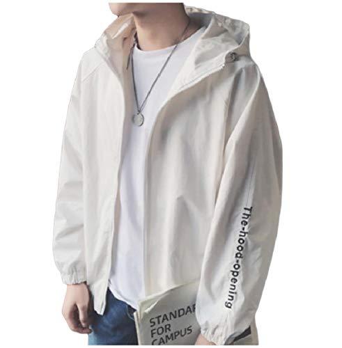 front Zip Giacca Casual uomo fit Con Cappotti Ricamo Bianco Howme Loose Cappuccio BXYqpp7
