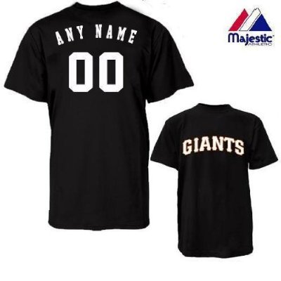 Majestic Athletic San Francisco Giants Personalized Custom (Add Name & Number) Youth Large 100% Cotton T-Shirt Replica Major League Baseball Jersey