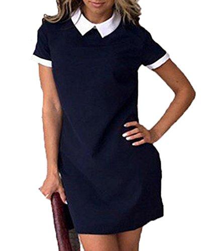 CHDT-Shirt Et Femme Casual Col de Poupe Manches Courtes Mini Robe Bloc de Couleur Court Robes de Party Bleu Fonc