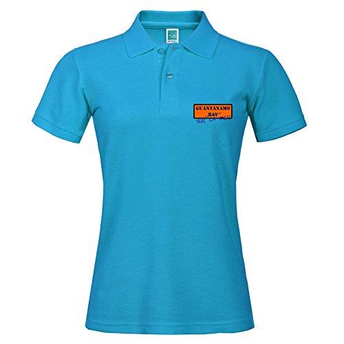 Solid Polo With Guantanamo Sur La Mer Printing Blue Summer Sport Shirt Size Medium by AdamHunter